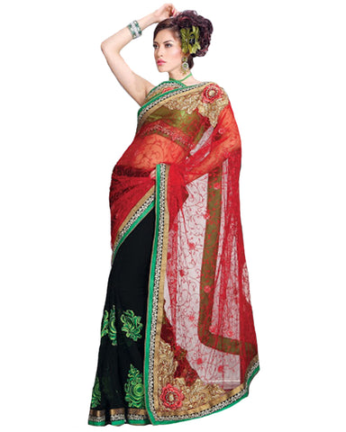 Sparkling Black & Tomato Embroidered Saree