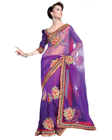 Tranquil Bluish Purple Embroidered Saree
