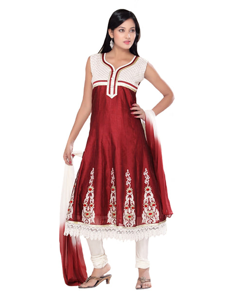 Red And White Kalidar Embroidered Suit