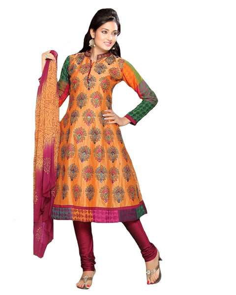 Saffron Pink Embroidered Frock Suit