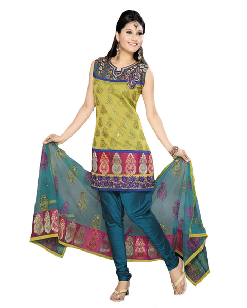 Innovative Teal Blue And Green Churidar Suit