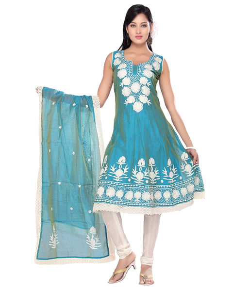 Teal Blue Poly Silk Embroidered Frock Suit