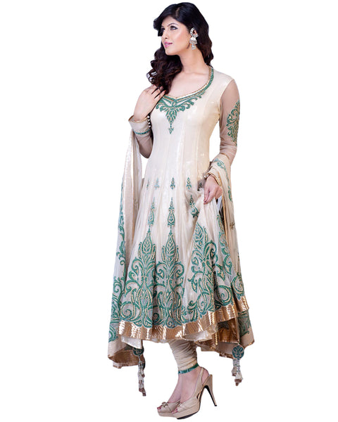 White Designer Churidar Suit