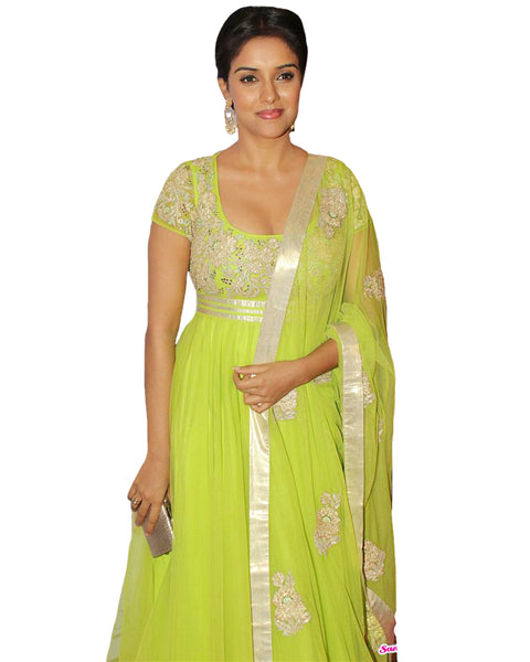 Green Net Anarkali Suit