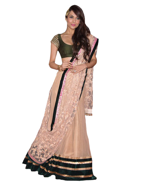 Cream Green Lehenga