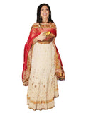 Long Anarkali Cream Suit