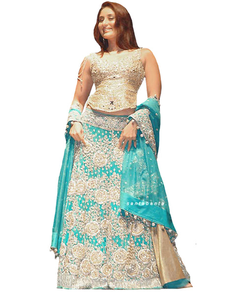 Sky blue,cream Bollywood Lehnga