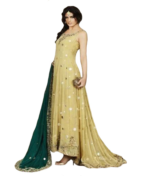 Yellow,green Bollywood Gown