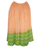 Orange & Green Cotton Bandhej  Skirts