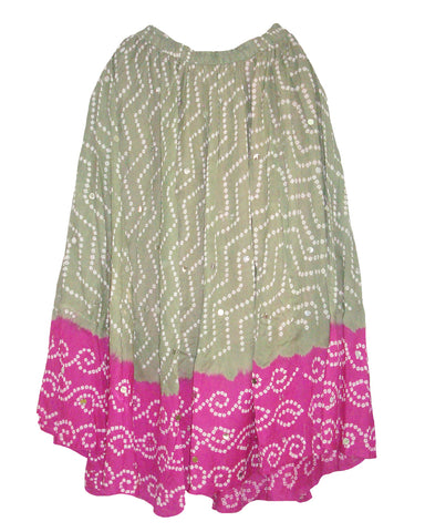 Grey & Pink Cotton Bandhej  Skirts
