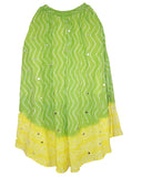 Green & Yellow Cotton Bandhej  Skirts