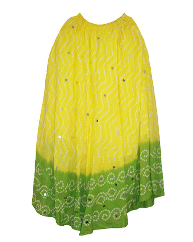 Yellow & Green Cotton Bandhej Skirts