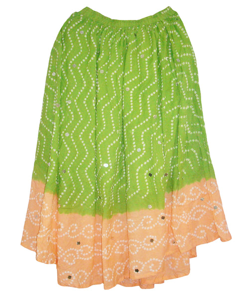 Green & Pink Cotton Bandhej  Skirts