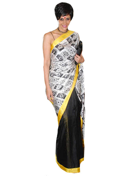 Bollywood Printed White & Black Saree