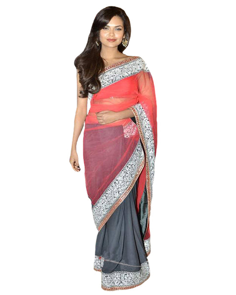 Pink & Grey Bollywood Saree
