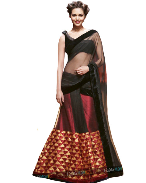 Red Black Bollywood Lehnga