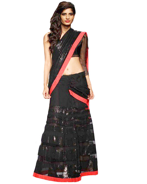 Bollywood Designer Black Lahunga Saree