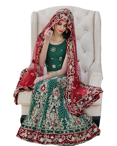 Magestic Green Wedding Lehenga