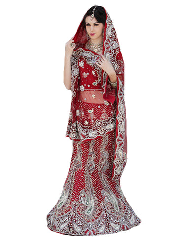 Red Designer Magestic Wedding Lehenga