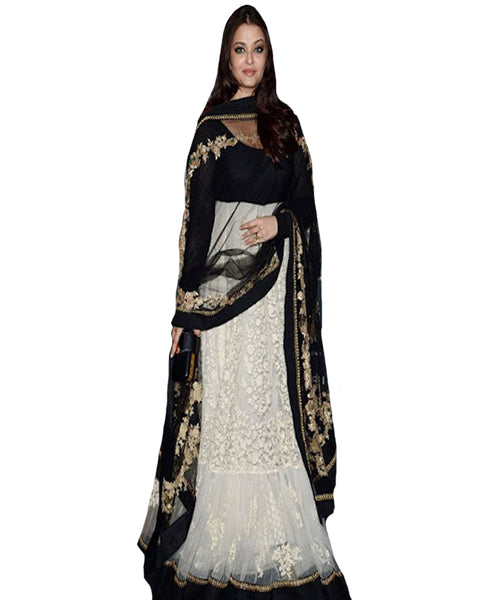 Cream & Black Bollywood Lehnga