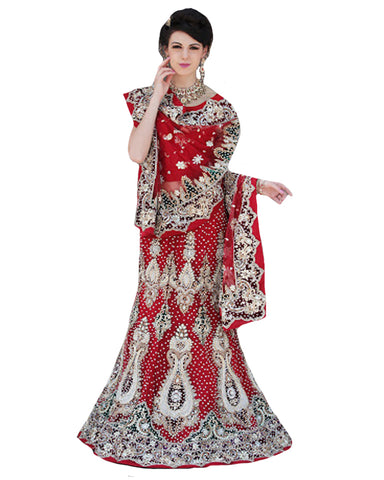 Magestic Red Designer Wedding Lehenga