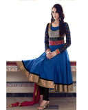 Designer Blue and Gloden Border Suit