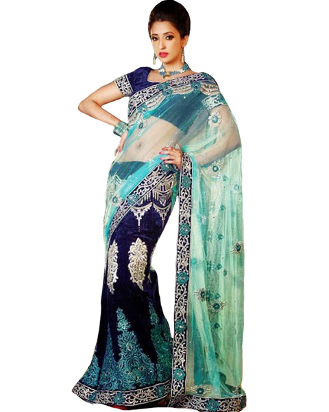 Designer Blue & Syan Saree