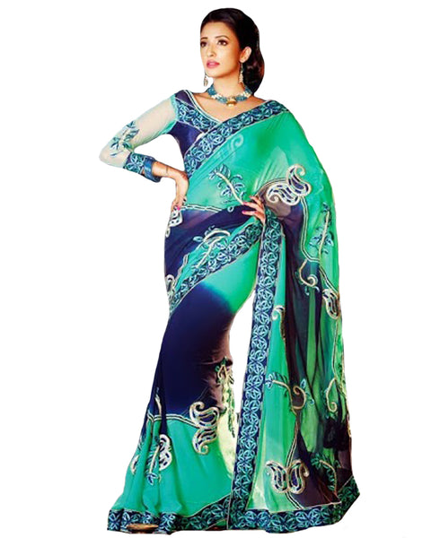 Designer Blue & Green Saree