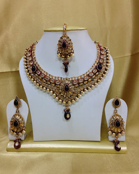 Golden Maroon Kundan Necklace