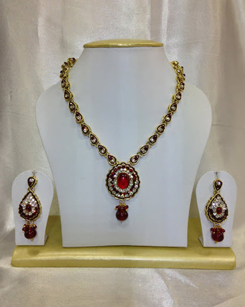 Golden Red Kundan Necklace