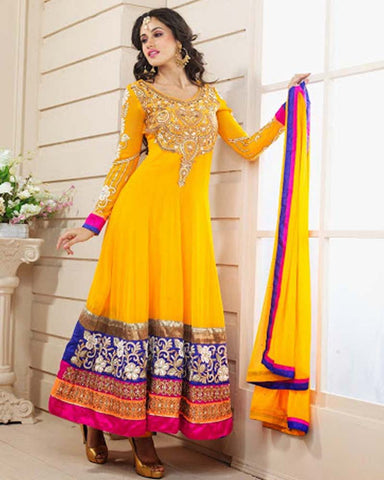 Yellow Designer Anarkali Suit