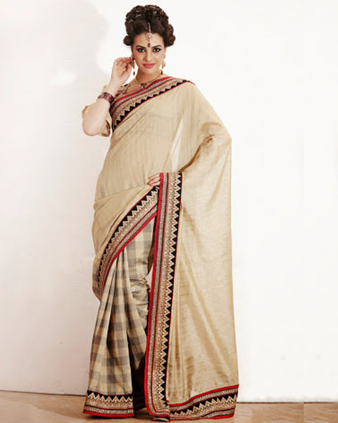 Beige Brown Silk Sari