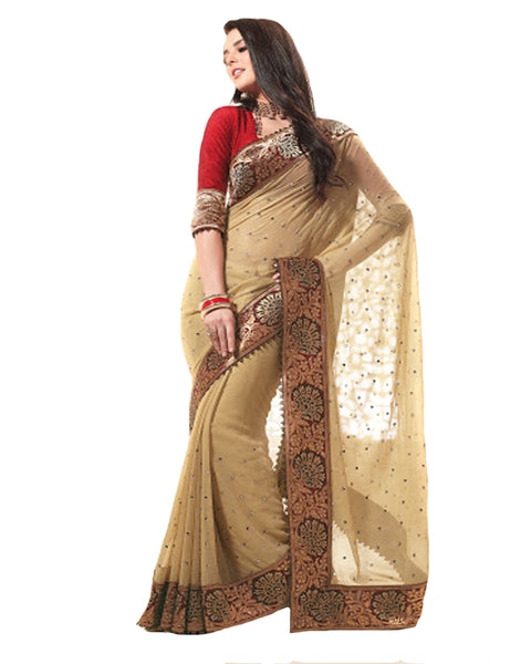 Beige and Red Georgette Sari