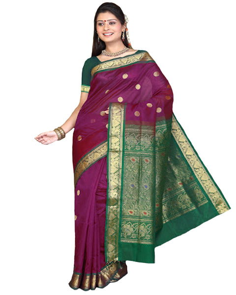 Beet Red Color Kanchivaram Silk Sari