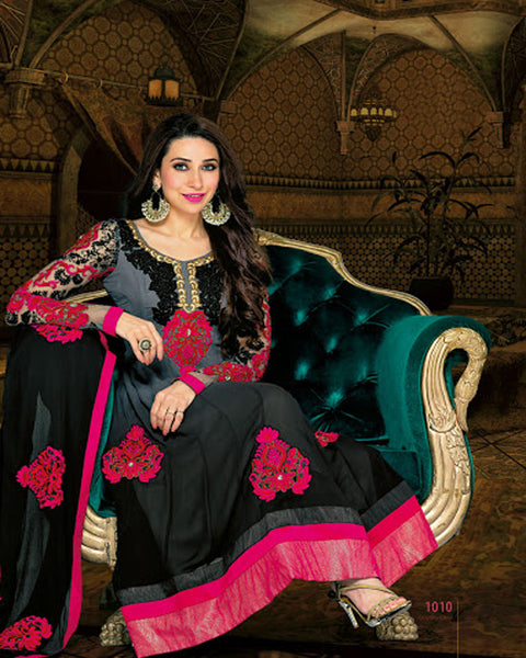 Black & pink  Anarkali Suit