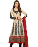 Cream and Black Anarkali Suit