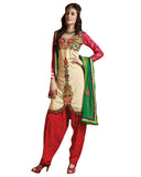 Beige n Red Cotton Suit