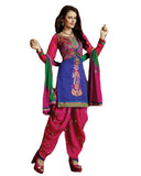 Blue and Magenta Cotton Suit