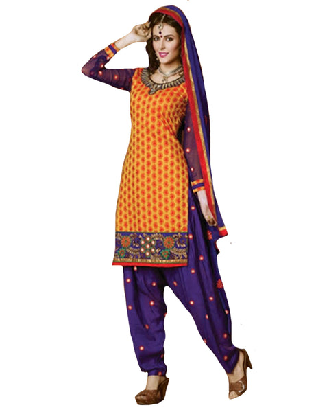 Orange and Purple Cotton Suit