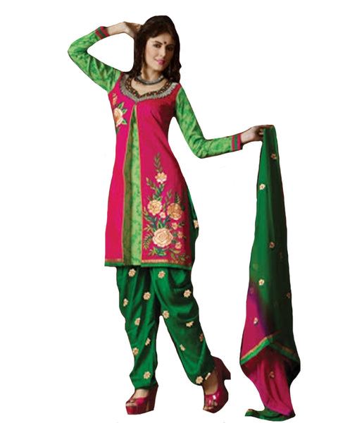 Magenta and Green Cotton Suit