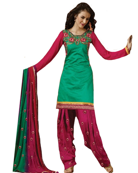 Green and Magenta Cotton Suit