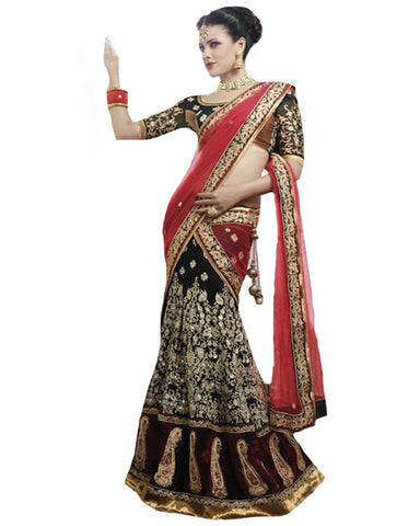 Designer Black and Red lahenga Sari