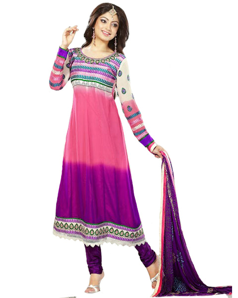 Peach and Purple Designer Anarkali Suit