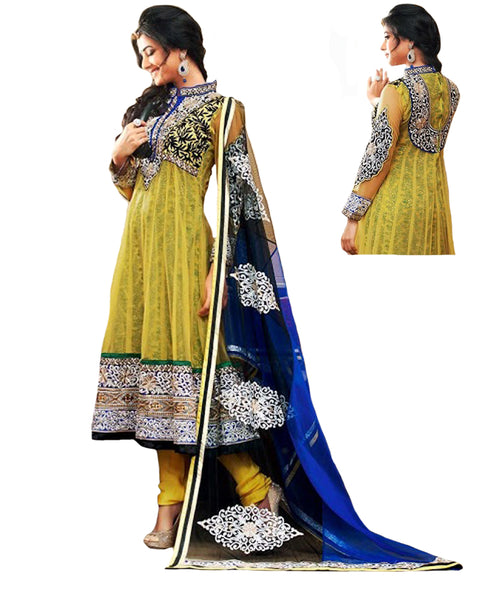 Yellow & Blue Designer Anarkali Suit