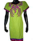 Parrot Green Embroidered Kurti
