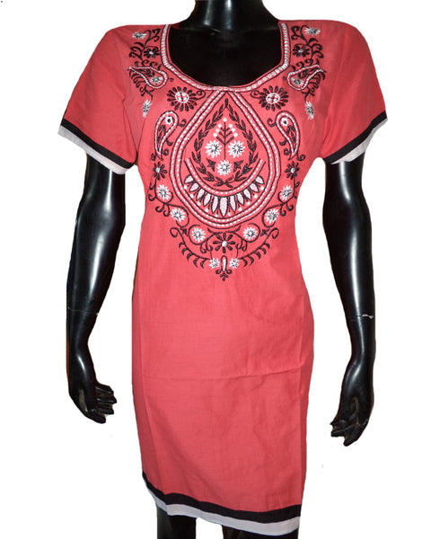 Embroidered Peach Kurti