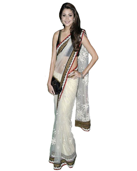 Bollywood Off White Net Saree