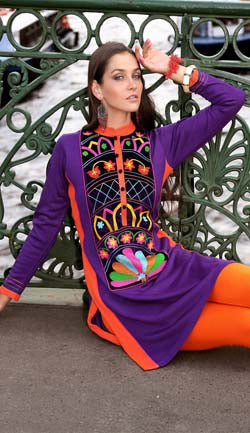 Woolen Deep Purple With Multi Color Yoke Kurti