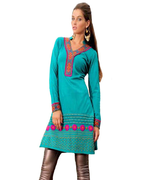 Woolen Greenish Blue Color Kurti