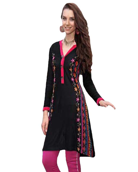 Woolen Black Color with Pink Embroided Kurti